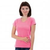 Женская однотонная футболка из хлопка, умеренно-розовая (эконом)