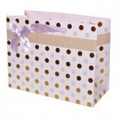 """Пакет подарочный с тиснением """"Горошек"""" (pink, 23x18)"""