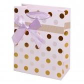 """Пакет подарочный с тиснением """"Горошек"""" (pink, 12x15)"""