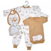 """Набор для новорожденного """"Пингвиненок"""" (коричневый)"""