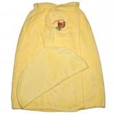 """Махровый набор для сауны """"С легким паром"""" (женский, желтый)"""