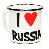 """Кружка металлическая """"I love Russia"""" (эмаль)"""