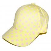Бейсболка женская подростковая, в горошек (желтый)