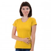 Женская однотонная футболка из хлопка, желто-оранжевая (эконом)