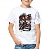 """Футболка с принтом, для мальчика """"Тигр и змеи"""""""