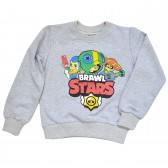 "Свитшот детский ""Brawl Stars - Leon"" для мальчика (светло-серый)"