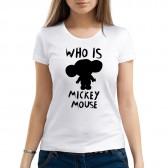 "Футболка с принтом, женская ""Who is Mickey Mouse?"""