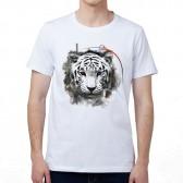 """Футболка с принтом, мужская """"Белый тигр с разными глазами"""""""