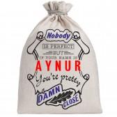 """Мешочек холщовый подарочный """"If your name is Aynur, you are pretty…"""""""