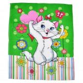 """Полотенце вафельное, кухонное """"Кошка и цветы"""""""