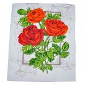 """Полотенце вафельное, кухонное """"Розы"""" (бледно-голубой)"""