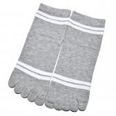 """Носки женские с пальцами """"Две полосы"""" (серый)"""