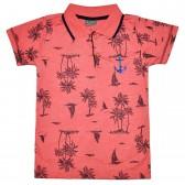 """Рубашка-поло детская """"Пальмы"""" (коралловый)"""