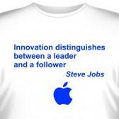 """Футболка """"Innovation distinguishes..(Стив Джобс)"""""""