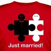"""Футболка """"Just married (только что поженились)"""""""