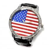 """Часы наручные """"Флаг США"""" (black, со стразами)"""