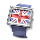 """Часы наручные """"Британский флаг -3"""" (blue, со стразами)"""