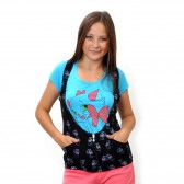 """Комплект: футболка+жилетка """"Киска с бантиком"""" (blue)"""