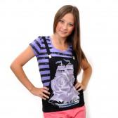 """Комплект: футболка и жилет-подтяжки """"Парусник"""" (violet)"""