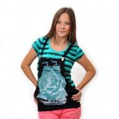 """Комплект: футболка и жилет-подтяжки """"Парусник"""" (turquoise)"""