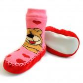 """Носки детские на подошве """"Мишка"""" (pink)"""
