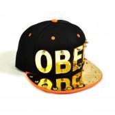 "Бейсболка 3D ""OBEY"", золото (black & orange)"