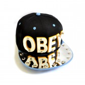 "Бейсболка 3D ""OBEY"" (black & l-blue)"