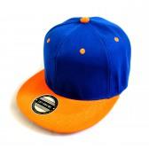 Кепка с прямым козырьком (синий с оранжевым)