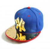 "Бейсболка 3D ""NY"", золото (blue & red)"