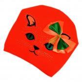 """Шапка подростковая женская """"Кошка с бантиком"""" (ярко-оранжевый) -01"""