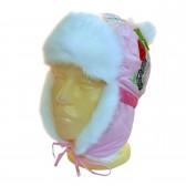 """Шапка-ушанка детская """"Червяк и ягода"""" (бледно-розовый)"""