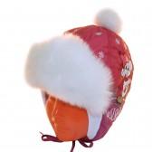 """Шапка детская болоньевая """"Мышонок на льду"""" (бордовый)"""