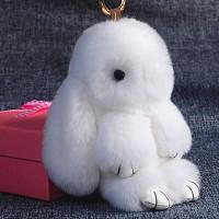 """Меховой брелок """"Зайчик"""" (кролик) 18 см на сумку -12"""