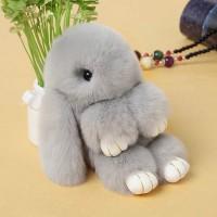 """Меховой брелок """"Зайчик"""" (кролик) 18 см на сумку -14"""