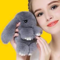 """Меховой брелок """"Зайчик"""" (кролик) 18 см на сумку -19"""