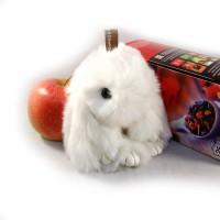"""Меховой брелок """"Зайчик"""" (кролик) 13 см на сумку -04"""