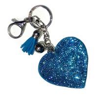 """Брелок кожаный """"Сердце со стразами"""" (blue)"""