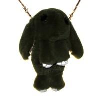 """Меховая сумка рюкзак """"Кролик"""" (темно-зеленый)"""
