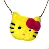 """Меховая сумка рюкзак """"Hello Kitty"""" (желтый)"""