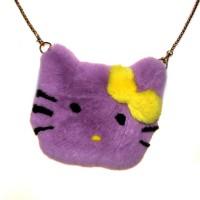 """Меховая сумка рюкзак """"Hello Kitty"""" (сиреневый)"""