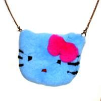 "Меховая сумка рюкзак ""Hello Kitty"" (голубой)"