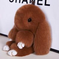"""Меховой брелок """"Зайчик"""" (кролик) 18 см на сумку -42"""