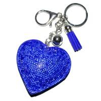 """Брелок кожаный """"Сердце со стразами"""" (d-blue)"""