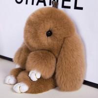 """Меховой брелок """"Зайчик"""" (кролик) 13 см на сумку -18"""