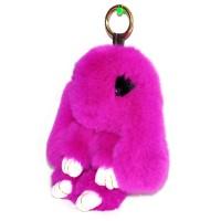 """Меховой брелок """"Зайчик"""" (кролик) с ресничками 18 см на сумку -09"""