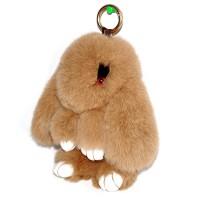 """Меховой брелок """"Зайчик"""" (кролик) с ресничками 18 см на сумку -10"""