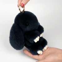 """Меховой брелок """"Зайчик"""" (кролик) 18 см на сумку -67"""