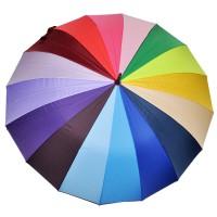 """Зонт """"Радуга"""" 16 цветов/спиц (механический, ручка-крюк.)"""