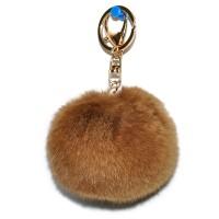 """Меховой брелок """"Шарик"""" (натуральный мех) 8 см на сумку -26"""