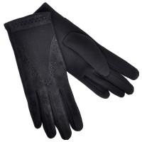 Перчатки женские, черные, комбинированные
